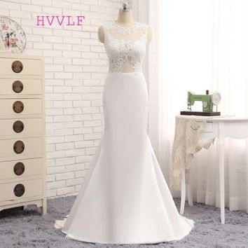 HVVLF Vestido De Noiva 2017 Beach Wedding Dresses Mermaid High Collar Applique Lace Vintage Wedding Gown Bridal Dresses