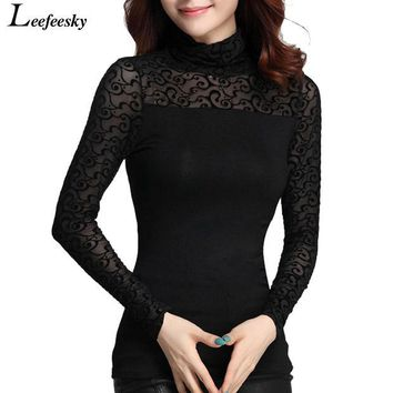 DCK9M2 Women Tops 2016 Autumn Elegant Long Sleeve Women Shirts Bodysuit Turtleneck Black Women Blouses Female Clothing Plus Size