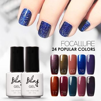 BILING Long Lasting  Gel Polish UV Nail Gel Polish Dark Purple Color Gel Nail Polish  Glitter Nail Enamel