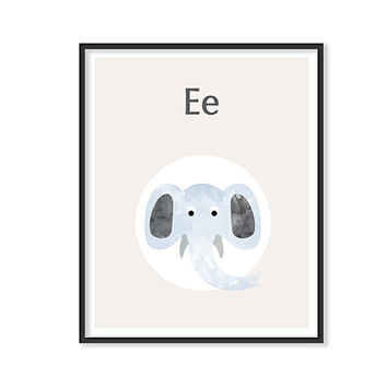 ALPHABET Print E Art Dog Art watercolor animal Nursery art ABC wall art print Neutral Nursery decor Unisex Kids room decor Children's art