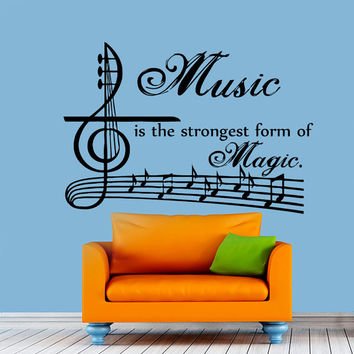 Music is Strongest Magic Quote Wall Decal Vinyl Sticker Decals Art Home Decor Design Murals Music Decals NA51