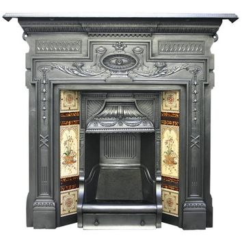 Antique Victorian Cast Iron and Tiled Combination Fireplace
