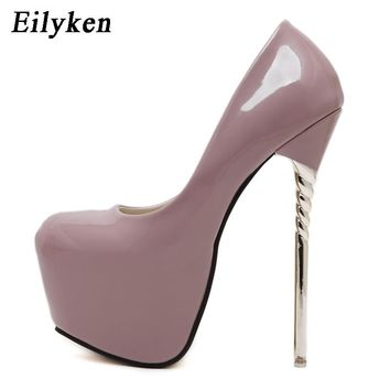 Eilyken 2019 New Sexy Women Pumps Wedding Women Fashion Patent Leather Shoes Latform Very High Heel shoes For Women
