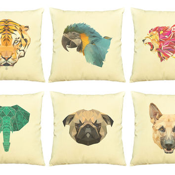 Animals in geometric pattern style Printed Cotton Pillows Case VPLC_03