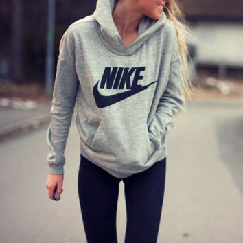 "Women Fashion ""NIKE"" Hooded Top Sweater Pullover Sweatshirt [9240261703]"