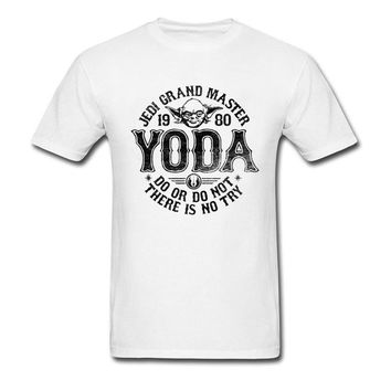 Retro Men Teeshirt 2018 New Arrival High Quality Famous Brand T-Shirts 1980 Grand Master Yoda Star Wars Rider Tshirt For Adult