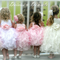 Pale pink satin, organza flower girl dress, cascading vertical ruffles baby, toddler & girl sizes