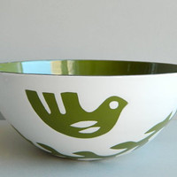 Hanova of Pasadena Large Green Enamel Dove Bird Bowl