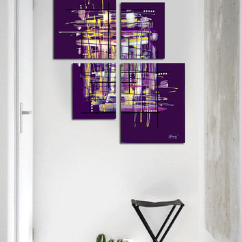 "Original abstract painting. 4 piece canvas art. 42x34"" Large painting. Purple painting with yellow, lavender, black, white. Unique."