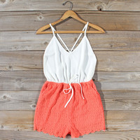 Sea Lace Romper in Coral