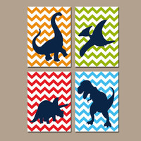 DINOSAUR Wall Art, Canvas or Prints, Big Boy Bedroom Pictures, Silhouette Chevron DINO Theme, Baby Boy Nursery Wall Art Set of 4 Decor