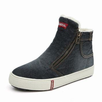 M.GENERAL Demin High Top Winter Casual Flat Boots For Women
