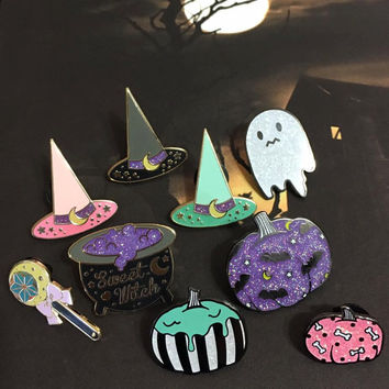 Sweet Witches Enamel Pin Collection - Witch Hats Wand Cauldron Glitter Hard Enamel Pins