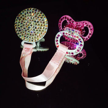 Pacifier Clip Covered in Swarovski  Crystal AB Rhinestones
