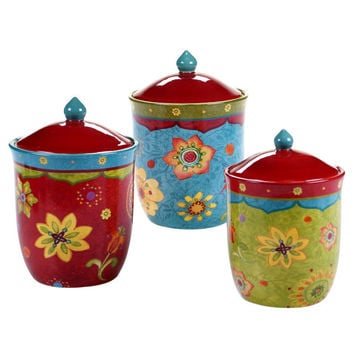 Canister Set 3 Piece Stoneware Red Green Blue Floral Print