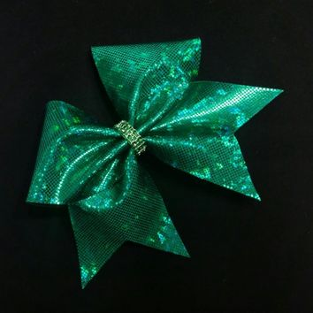 Dark Green cheer bow, Cheer bows, cheerleading bow, cheerleader bow, cheer bow, softball bow, cheerbows, hair bows, hairbow, shattered glass