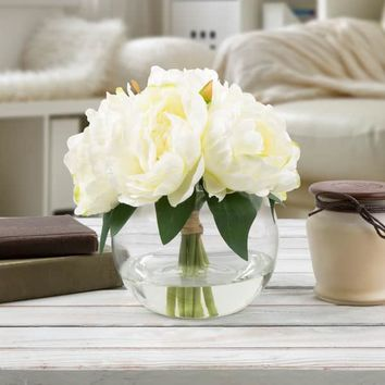 Rose Artificial Silk Floral Arrangement with Vase and Faux Water- Pure Garden (Cream) | Overstock.com Shopping - The Best Deals on Silk Plants