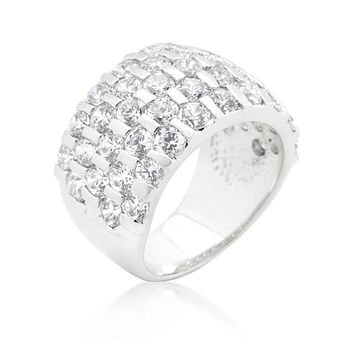 Shelby Channel Set Round Cut Band Ring | 9ct | Cubic Zirconia | Silver