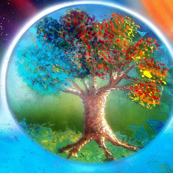 "Tree of Life Art, Night and Day, Rainbow Tree Painting, Cosmic Art, Seasonal Painting, Spray Paint Art, Print 24""x18"""
