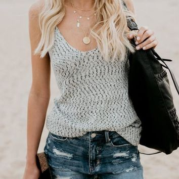 Grey Floral Spaghetti Strap Backless Deep U-neck Bohemian Going out Casual Vest