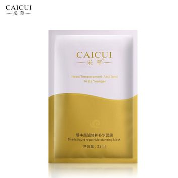 10pcs/lot CAICUI Snail Serum Moisturizing Face Mask Whitening Hyaluronic Acid Mask for the Face Pores Shrinking Oil-control
