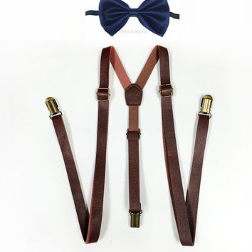 Brown leather suspenders, bowtie set, Navy blue bowtie, brown suspenders, leather suspenders, brown leather suspender, navy blue bow tie