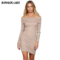 Autumn Women Dress New Fashion Long Sleeve Slash Neck Off Shoulder Knitted Dresses Women