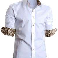 FLATSEVEN Mens Slim Fit Leopard Lined Casual Dress Shirts