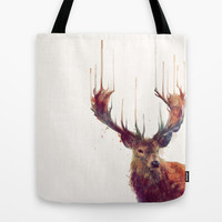 Red Deer // Stag Tote Bag by Amy Hamilton