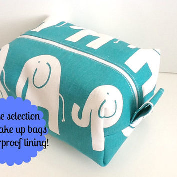 Elephant Make up Bag  -  Turquoise Cosmetic Pouch -  Lunch Bag - Wet Bag -Waterproof Bag
