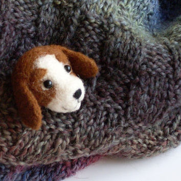 "Dog Brooch,1 3/4"", needle felted miniature, dog pin, brown, white, handmade, wool"