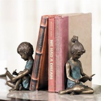 SPI Home Pair of Boy Writing and Girl Reading Bookends Brass Bronze Patina 7.5'H