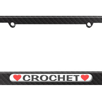 Crochet Love with Hearts License Plate Tag Frame - Carbon Fiber Patterned Finish