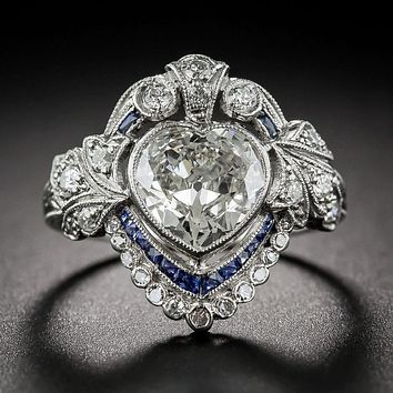 A Museum Perfect 2.7CT Heart Cut Russian Lab Diamond Blue Sapphire Engagement Promise Wedding Ring
