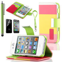 Stylus + Flip ID Card Wallet Leather Purse Stand Case Cover For iPhone 4 4G 4S
