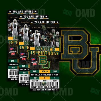 Baylor Bears Sports Party Invitation, Sports Tickets Invites, BU Football Birthday Theme Party Template