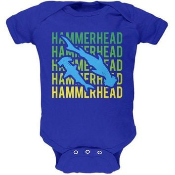 LMFCY8 Hammerhead Shark Stacked Repeat Soft Baby One Piece