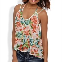 Floral Chiffon Tank with Multi Straps and Button Front