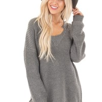 Charcoal Sweater with Distressed Neckline and Hemline