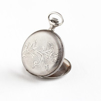 Antique Victorian 900 Silver Hunter Pocket Watch Case - Vintage Men's Etched Designs & Shield Motif Coin Silver Jewelry Fashion Accessory