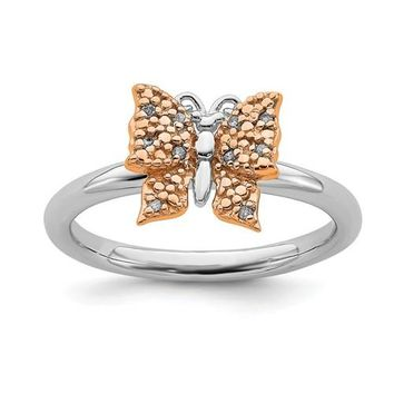 Sterling Silver Stackable Expressions Rose Gold Plated Diamond Butterfly Ring