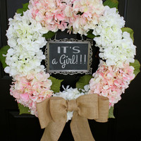 Hydrangea Wreath - Pink and White - 5x7 CHALKBOARD - Burlap - Spring - It's a Girl - Wedding Wreath - Year Round - LARGE Initial Monogram
