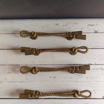 Brass Rope Drawer Pulls/ Vintage Nautical Decor/ Brass Braid Pulls/ Rope Pulls/ Regency Pulls/ Beach Cottage Decor/ Large Brass Pulls