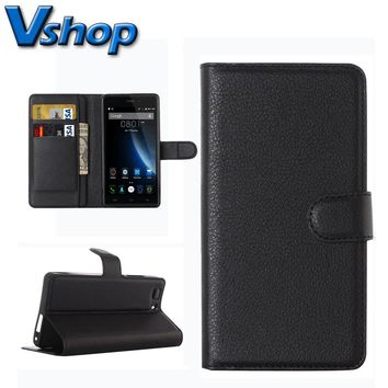 Doogee X5 / X5 Pro Cell Phone Case Litchi Texture Horizontal Flip Leather Smartphone Case Cover with Holder Card Slots wallet