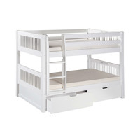 White Twin Over Twin Bunk Bed with Bottom Storage Drawers & Ladder