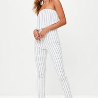 Missguided - White Stripe Double Layer Bandeau Jumpsuit