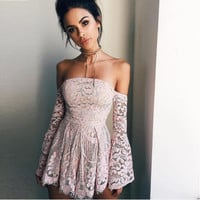 Flora Off-the-Shoulder Lace Detailed Romper