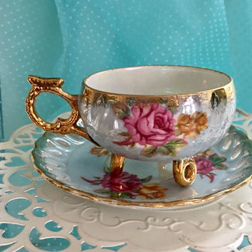 Antique Tea Cup, Japanese Lustreware, Pink Gold Tea Cup, Footed Tea Cup Set, Shabby Chic Decor, Pierced, Reticulated China, Gift for Bride