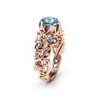 Blue Diamond Engagement Ring Rose Gold Engagement Ring Blue Diamond Gold Ring