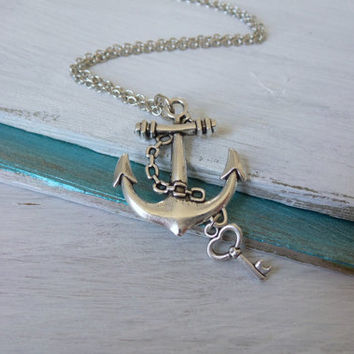 Anchor Key Necklace by SBC, Antique Silver Anchor, Silver Heart Key, Antique Silver Chain, Anchor Heart Necklace, Lost Heart at Sea, Ahoy